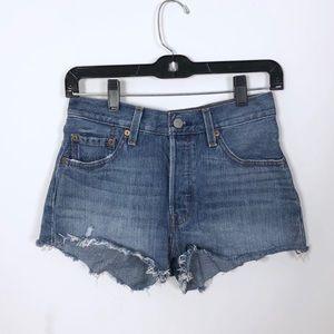 Levi's 501 Raw Hem High Rise Jean Shorts